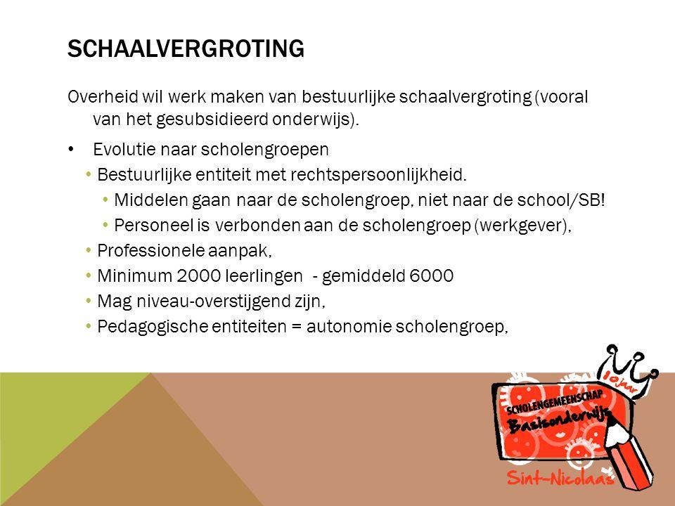 SCHAALVERGROTING Overheid wil werk maken van bestuurlijke schaalvergroting (vooral van het gesubsidieerd onderwijs).