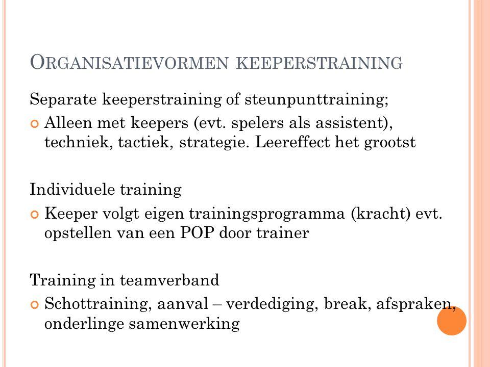 O RGANISATIEVORMEN KEEPERSTRAINING Separate keeperstraining of steunpunttraining; Alleen met keepers (evt. spelers als assistent), techniek, tactiek,
