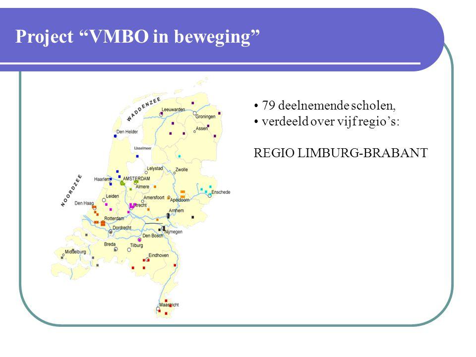 79 deelnemende scholen, verdeeld over vijf regio's: REGIO LIMBURG-BRABANT Project VMBO in beweging