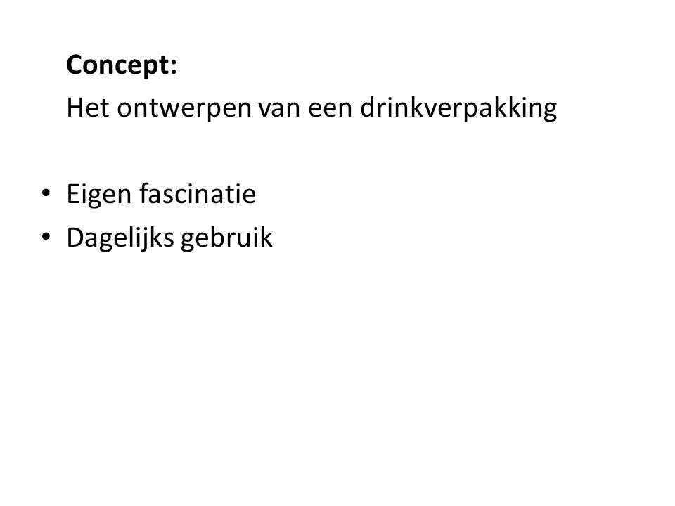 Concept: Het ontwerpen van een drinkverpakking Eigen fascinatie Dagelijks gebruik