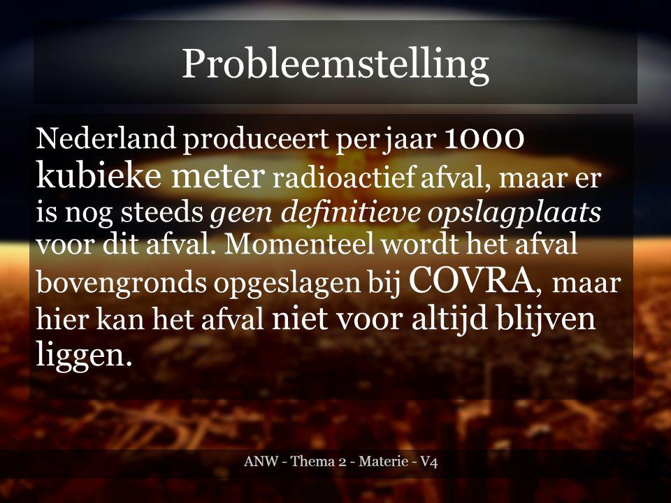 Probleemstelling Nederland produceert per jaar 1000 kubieke meter radioactief afval, maar er is nog steeds geen definitieve opslagplaats voor dit afval.