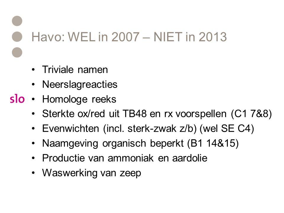 Havo: WEL in 2007 – NIET in 2013 Triviale namen Neerslagreacties Homologe reeks Sterkte ox/red uit TB48 en rx voorspellen (C1 7&8) Evenwichten (incl.