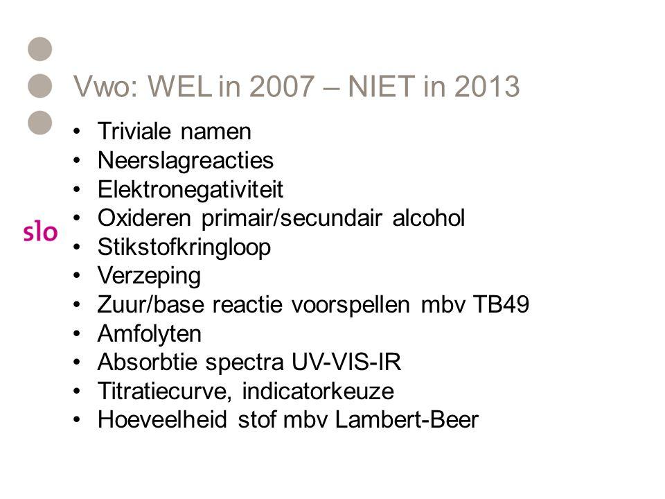 Vwo: WEL in 2007 – NIET in 2013 Triviale namen Neerslagreacties Elektronegativiteit Oxideren primair/secundair alcohol Stikstofkringloop Verzeping Zuu