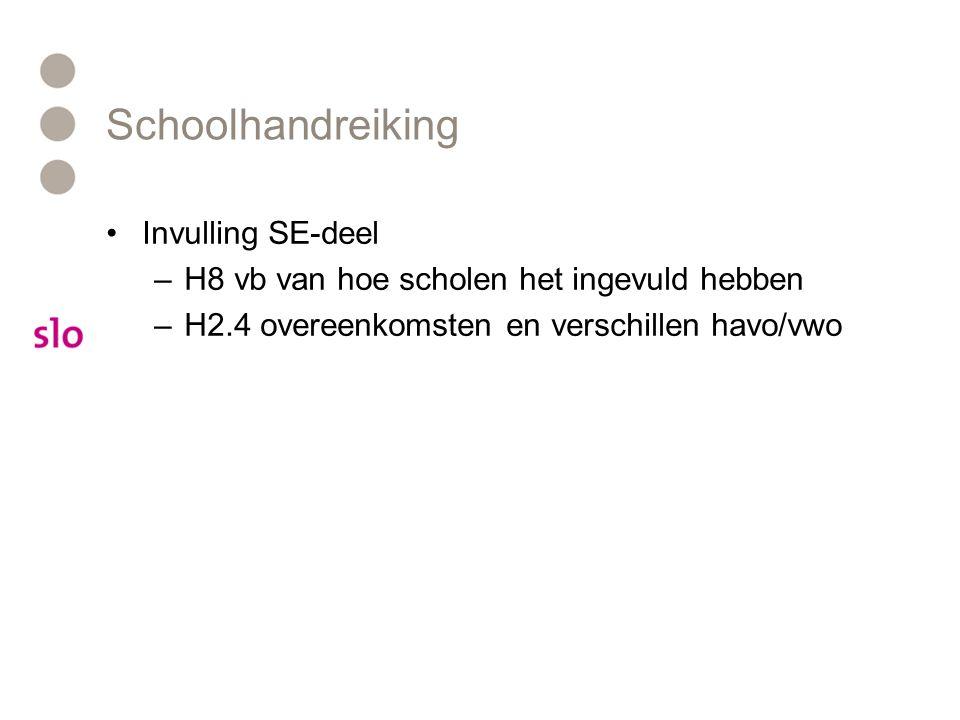 Schoolhandreiking Invulling SE-deel –H8 vb van hoe scholen het ingevuld hebben –H2.4 overeenkomsten en verschillen havo/vwo