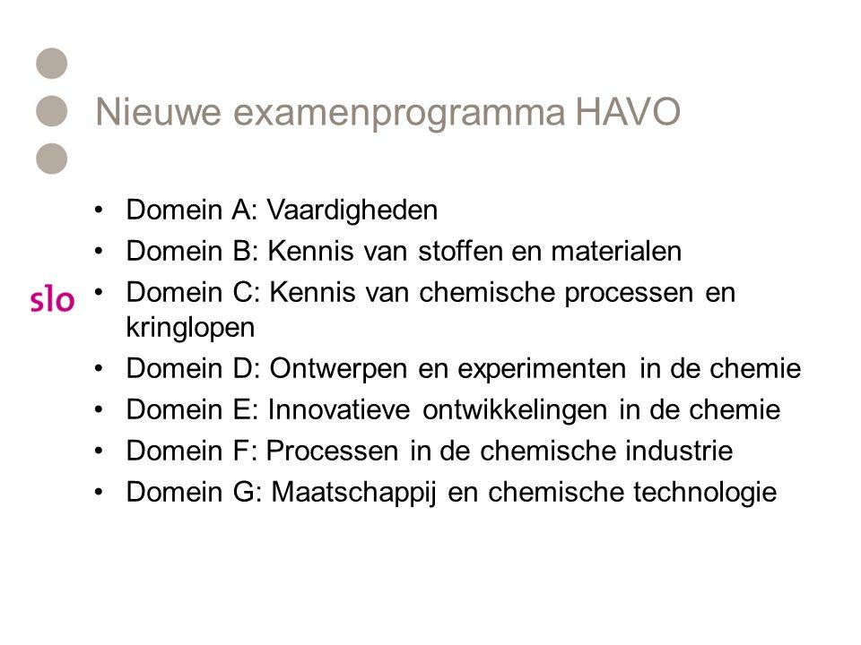 Nieuwe examenprogramma VWO Domein AVaardigheden Domein B Stoffen en materialen in de chemie Domein C Chemische processen en behoudswetten Domein D Ontwikkelen van chemische kennis Domein E Innovatie en chemisch onderzoek Domein FIndustriële (chemische) processen Domein G Maatschappij, chemie en technologie