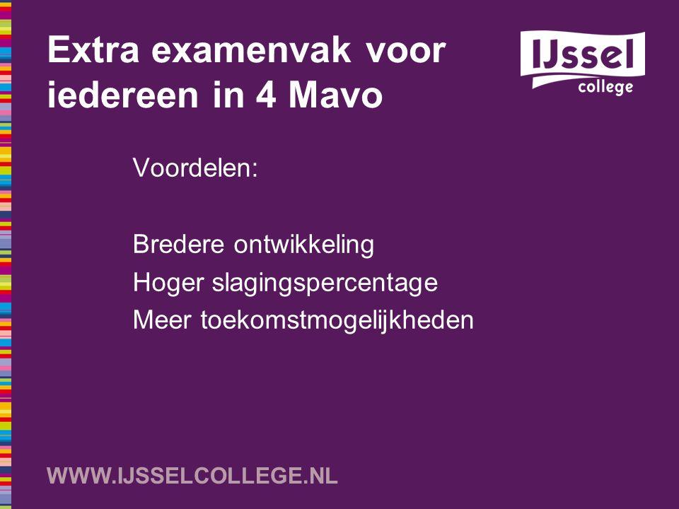 WWW.IJSSELCOLLEGE.NL Extra examenvak voor iedereen in 4 Mavo Voordelen: Bredere ontwikkeling Hoger slagingspercentage Meer toekomstmogelijkheden