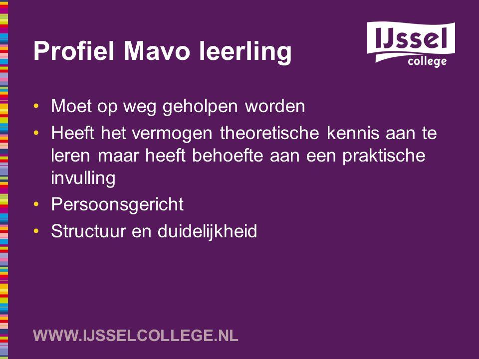 WWW.IJSSELCOLLEGE.NL Profiel Mavo leerling Moet op weg geholpen worden Heeft het vermogen theoretische kennis aan te leren maar heeft behoefte aan een