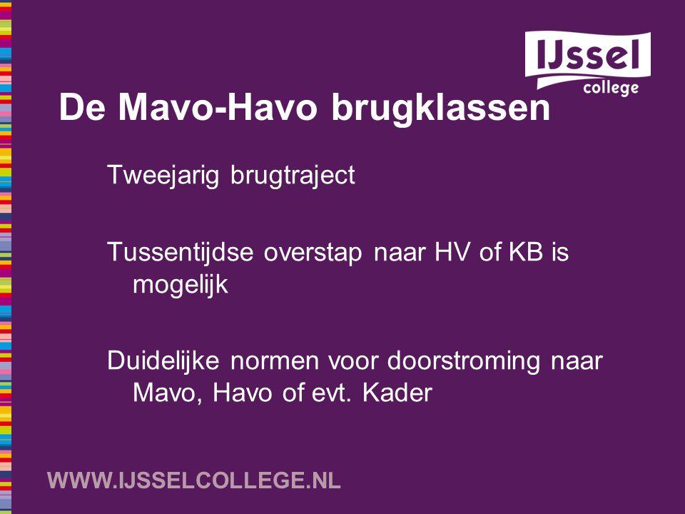 WWW.IJSSELCOLLEGE.NL De Mavo-Havo brugklassen Tweejarig brugtraject Tussentijdse overstap naar HV of KB is mogelijk Duidelijke normen voor doorstromin