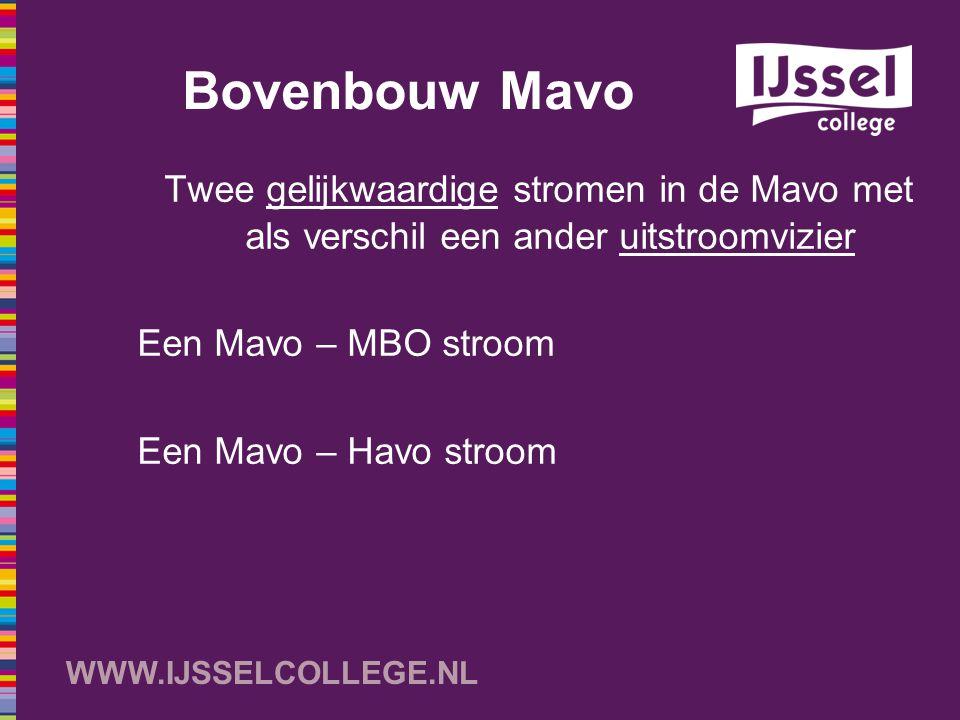 WWW.IJSSELCOLLEGE.NL Bovenbouw Mavo Twee gelijkwaardige stromen in de Mavo met als verschil een ander uitstroomvizier Een Mavo – MBO stroom Een Mavo –