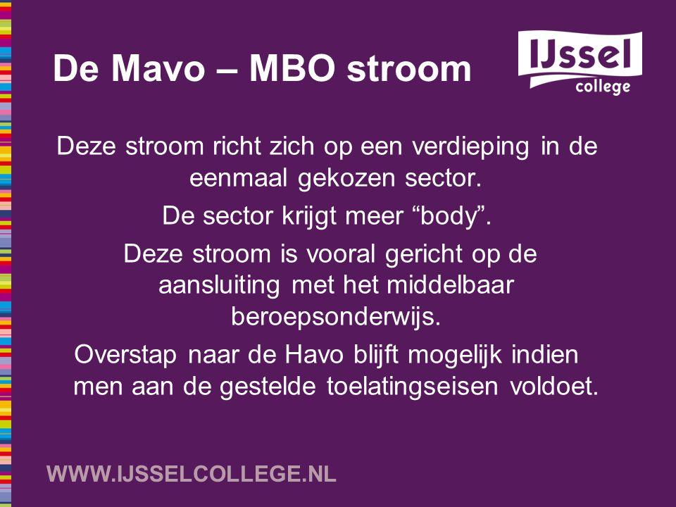WWW.IJSSELCOLLEGE.NL Concrete invulling van de Mavo – MBO stroom Projectblok van twee uur per week, met daarin: -Vakoverstijgende projecten -Praktijkworkshops op de Kanaalweg -Arbeidsoriëntatie Meer ruimte voor sectorgerelateerde elementen in de reguliere lessen Mensen uit de praktijk de school inhalen