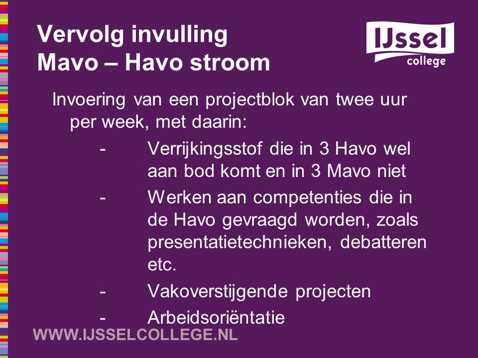 WWW.IJSSELCOLLEGE.NL Vervolg invulling Mavo – Havo stroom Invoering van een projectblok van twee uur per week, met daarin: -Verrijkingsstof die in 3 H