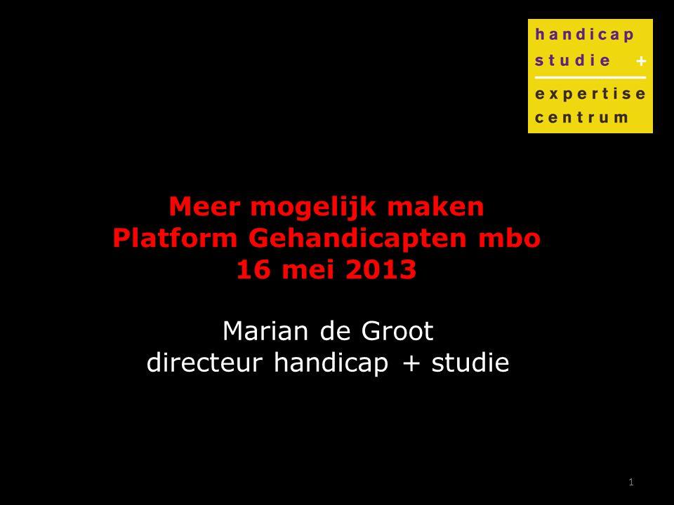 1 Meer mogelijk maken Platform Gehandicapten mbo 16 mei 2013 Marian de Groot directeur handicap + studie