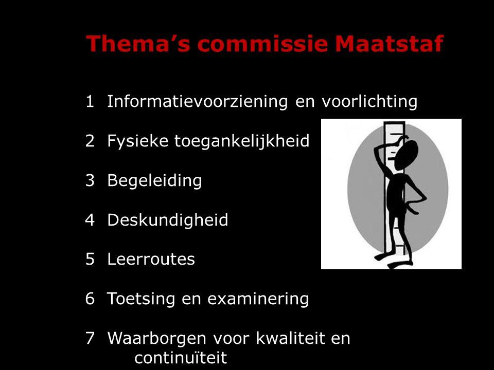Thema's commissie Maatstaf 1formatievoorziening en voorlichting 1 Informatievoorziening en voorlichting 2 Fysieke toegankelijkheid 3 Begeleiding 4 Des