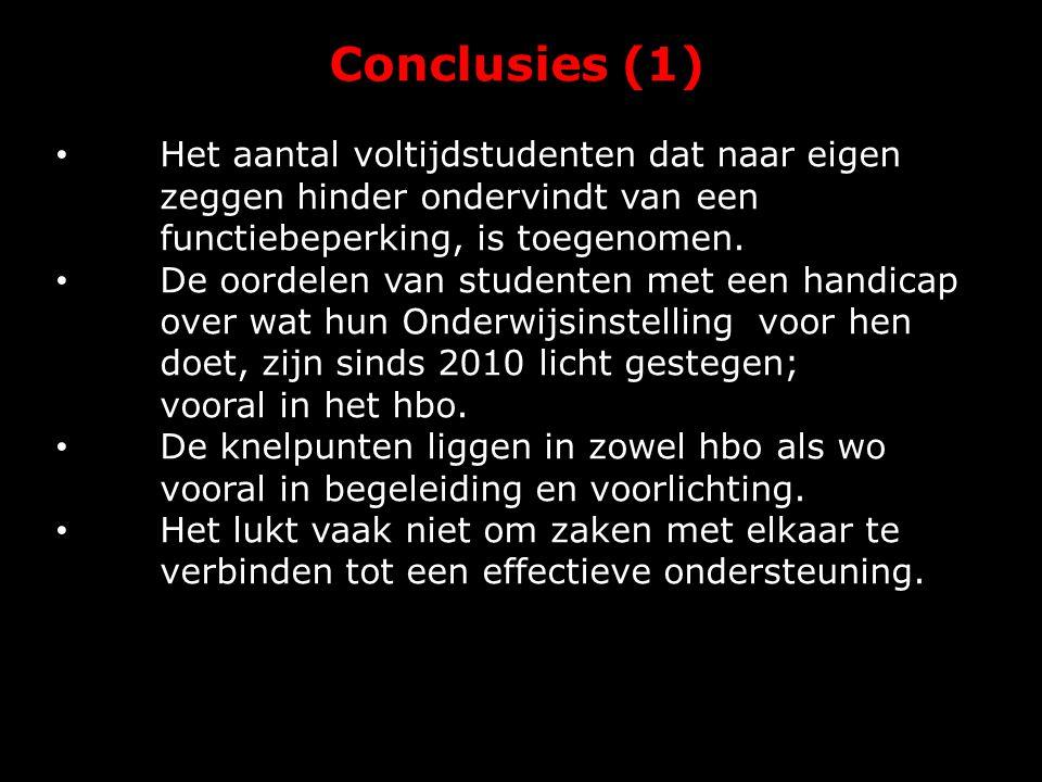 Conclusies (1) Het aantal voltijdstudenten dat naar eigen zeggen hinder ondervindt van een functiebeperking, is toegenomen. De oordelen van studenten