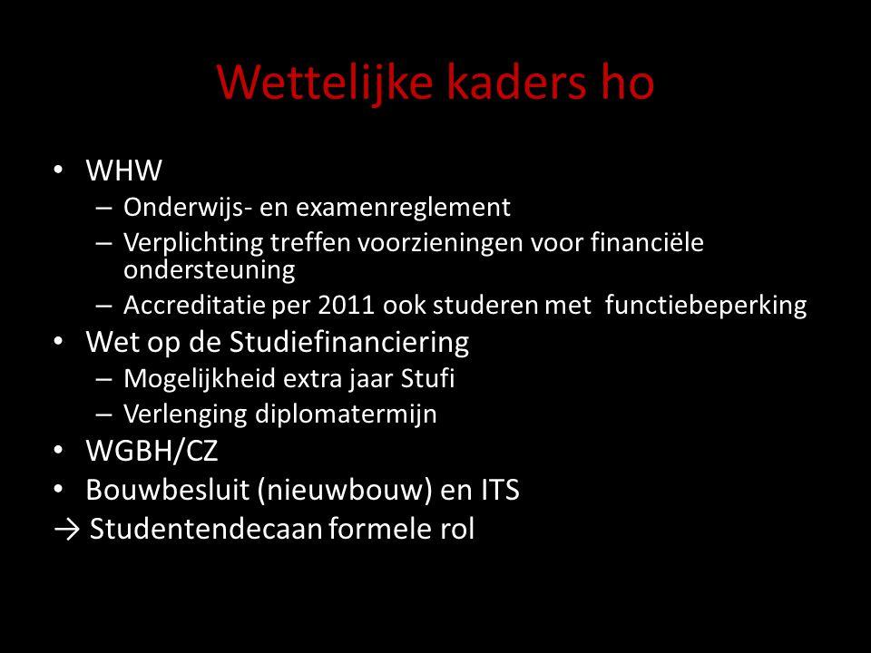 Wettelijke kaders ho WHW – Onderwijs- en examenreglement – Verplichting treffen voorzieningen voor financiële ondersteuning – Accreditatie per 2011 oo