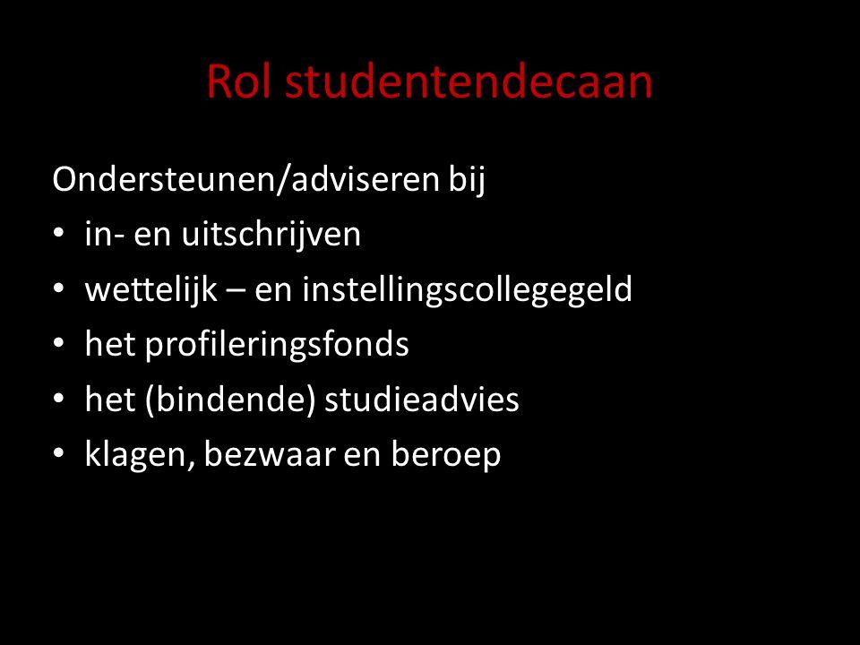 Rol studentendecaan Ondersteunen/adviseren bij in- en uitschrijven wettelijk – en instellingscollegegeld het profileringsfonds het (bindende) studiead