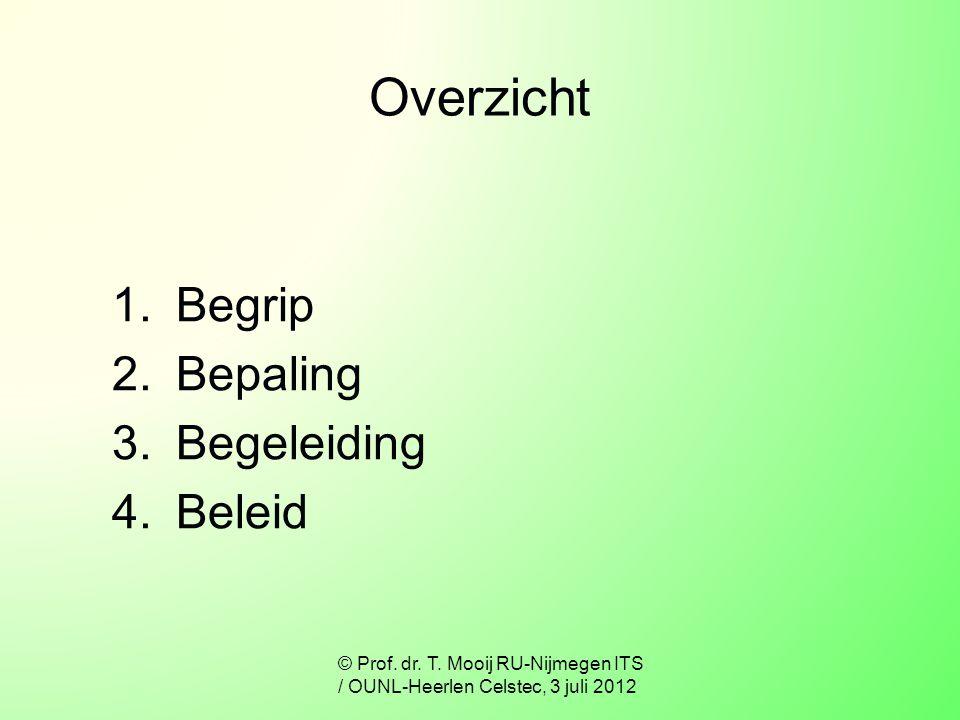 Overzicht 1.Begrip 2.Bepaling 3.Begeleiding 4.Beleid © Prof. dr. T. Mooij RU-Nijmegen ITS / OUNL-Heerlen Celstec, 3 juli 2012