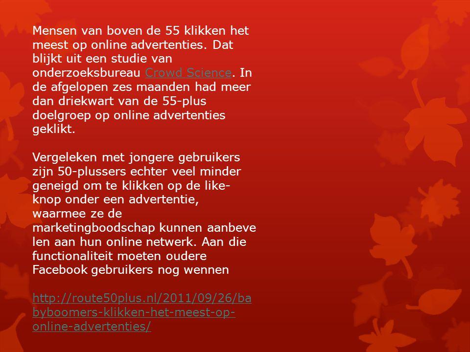 Mensen van boven de 55 klikken het meest op online advertenties.