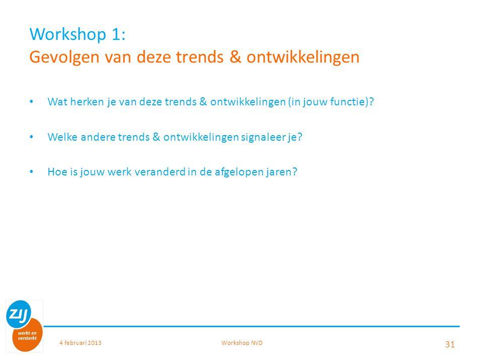 Workshop 1: Gevolgen van deze trends & ontwikkelingen Wat herken je van deze trends & ontwikkelingen (in jouw functie)? Welke andere trends & ontwikke