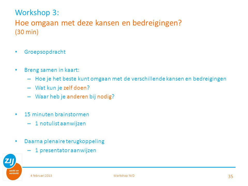 Workshop 3: Hoe omgaan met deze kansen en bedreigingen? (30 min) Groepsopdracht Breng samen in kaart: – Hoe je het beste kunt omgaan met de verschille