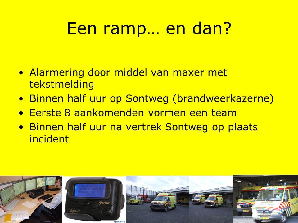 Een ramp… en dan? Alarmering door middel van maxer met tekstmelding Binnen half uur op Sontweg (brandweerkazerne) Eerste 8 aankomenden vormen een team