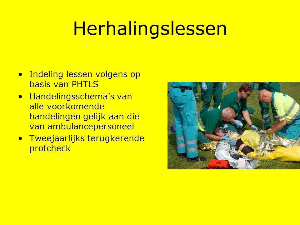 Herhalingslessen Indeling lessen volgens op basis van PHTLS Handelingsschema's van alle voorkomende handelingen gelijk aan die van ambulancepersoneel