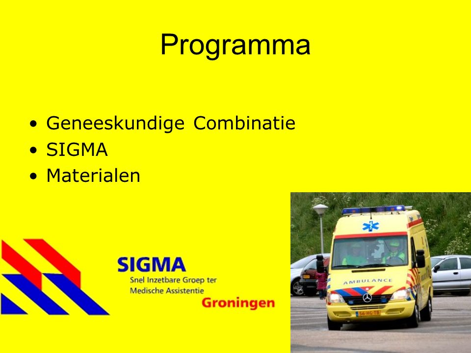 Geneeskundige Combinatie Ontstaan na opheffing BB en Geneeskundige Peletons NRK Doel: triage, stabilisatie en zorg op rampterrein Mobiel Medisch Team 2 vrije ambulanceteams SIGMA