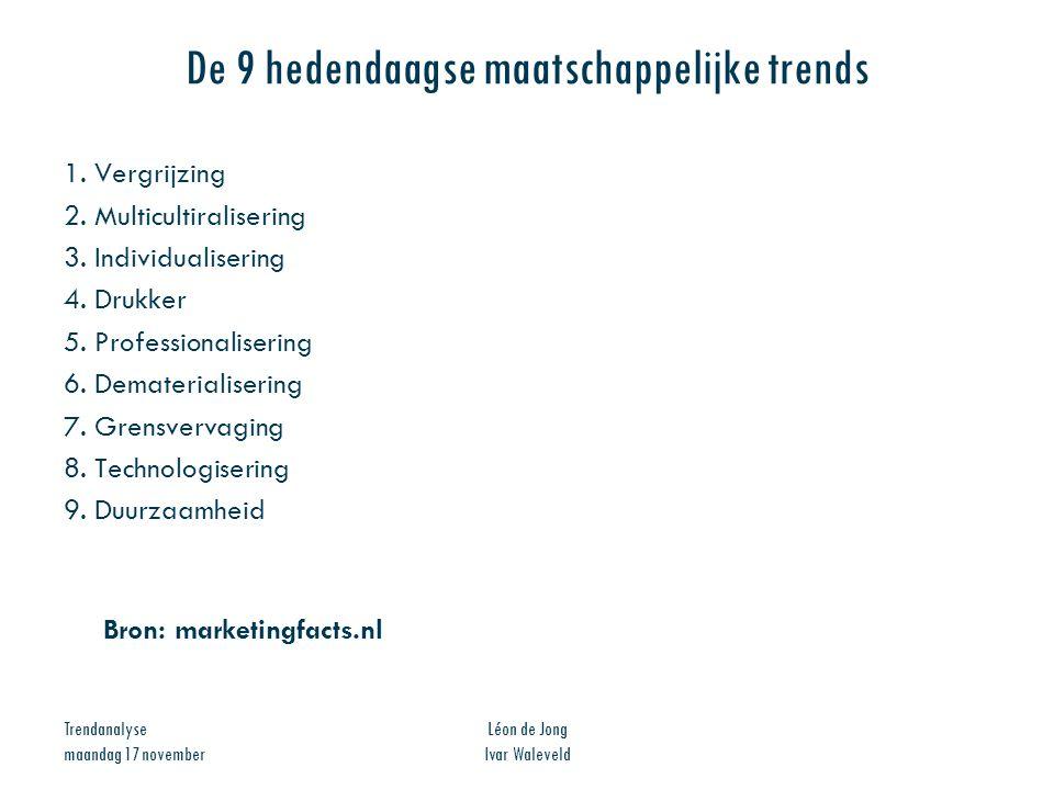 Trendanalyse maandag 17 november Léon de Jong Ivar Waleveld De 9 hedendaagse maatschappelijke trends 1. Vergrijzing 2. Multicultiralisering 3. Individ