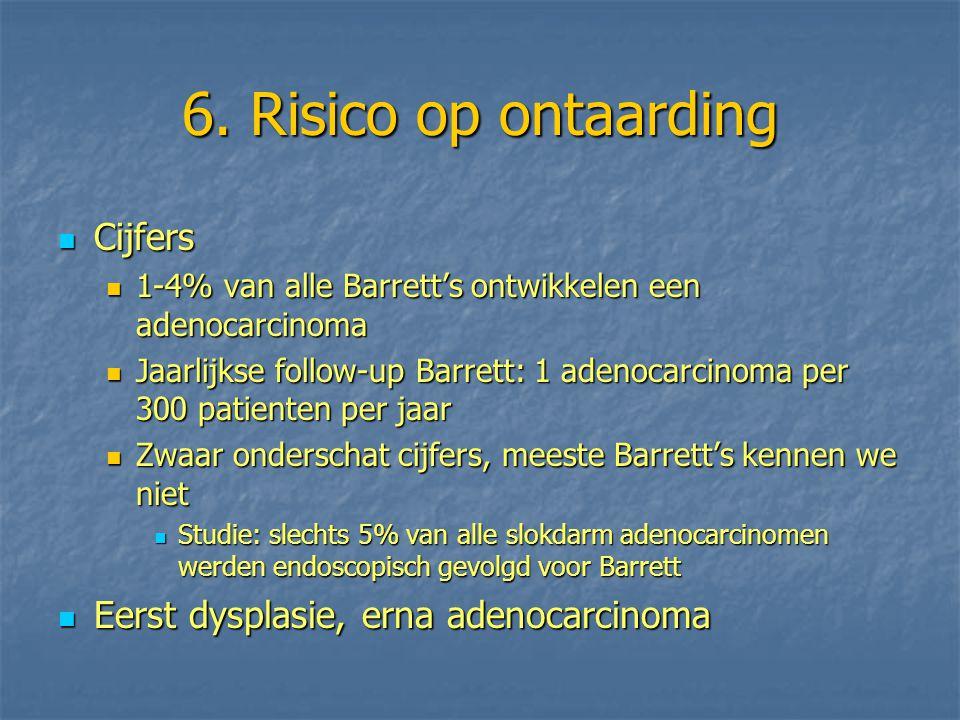6. Risico op ontaarding Cijfers Cijfers 1-4% van alle Barrett's ontwikkelen een adenocarcinoma 1-4% van alle Barrett's ontwikkelen een adenocarcinoma