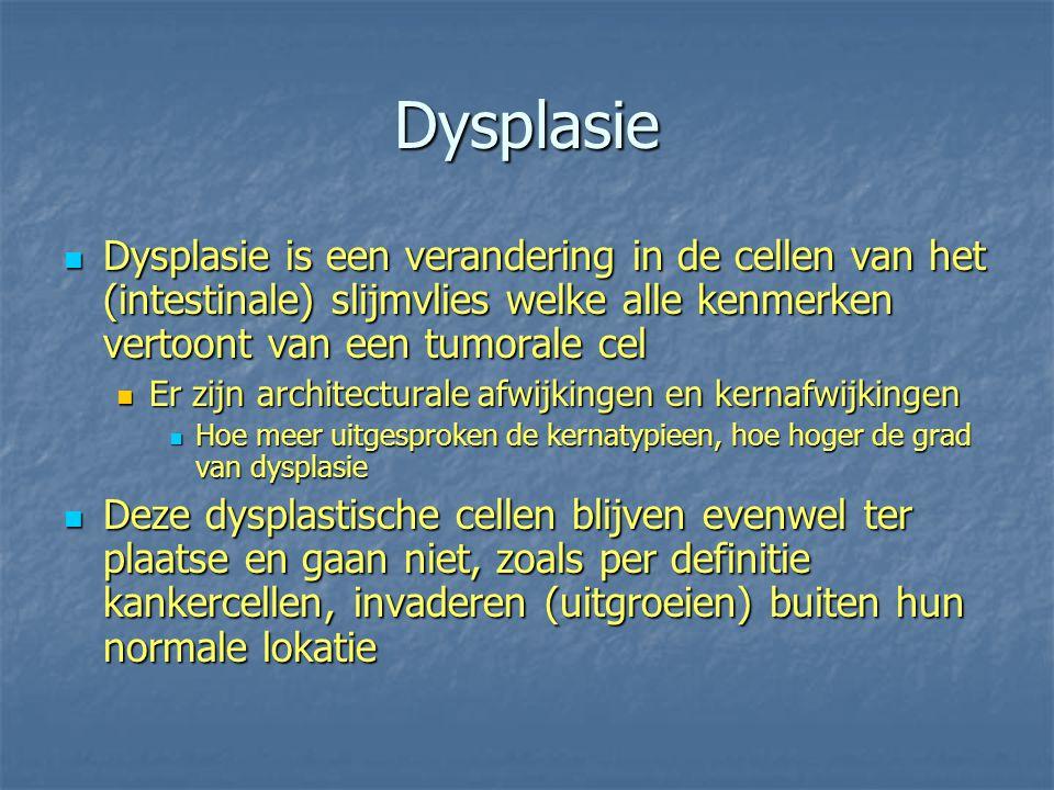 Dysplasie Dysplasie is een verandering in de cellen van het (intestinale) slijmvlies welke alle kenmerken vertoont van een tumorale cel Dysplasie is e