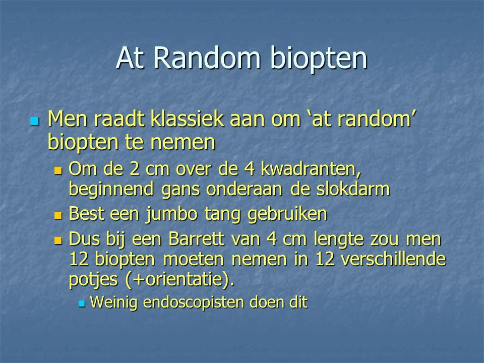 At Random biopten Men raadt klassiek aan om 'at random' biopten te nemen Men raadt klassiek aan om 'at random' biopten te nemen Om de 2 cm over de 4 k