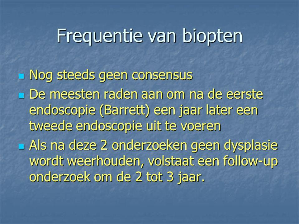 Frequentie van biopten Nog steeds geen consensus Nog steeds geen consensus De meesten raden aan om na de eerste endoscopie (Barrett) een jaar later ee