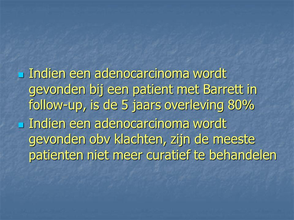 Indien een adenocarcinoma wordt gevonden bij een patient met Barrett in follow-up, is de 5 jaars overleving 80% Indien een adenocarcinoma wordt gevond