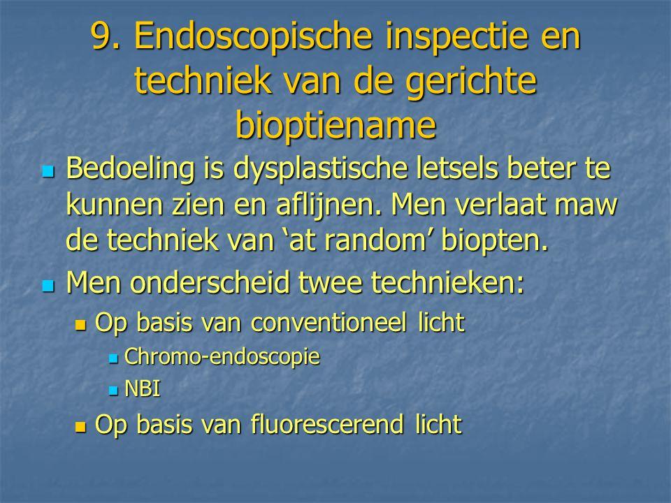 9. Endoscopische inspectie en techniek van de gerichte bioptiename Bedoeling is dysplastische letsels beter te kunnen zien en aflijnen. Men verlaat ma