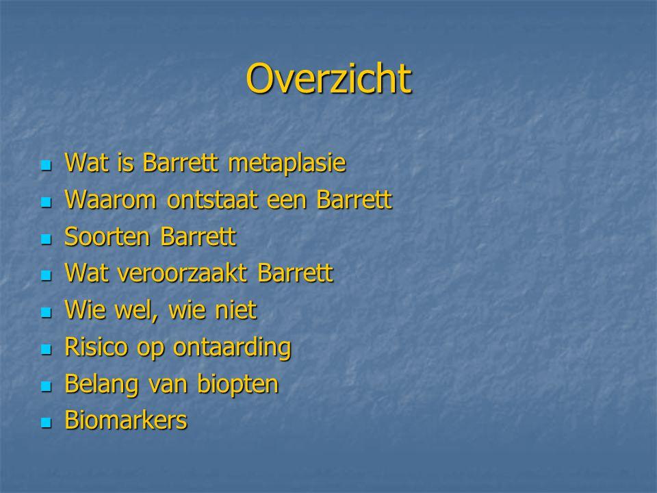 Overzicht Wat is Barrett metaplasie Wat is Barrett metaplasie Waarom ontstaat een Barrett Waarom ontstaat een Barrett Soorten Barrett Soorten Barrett