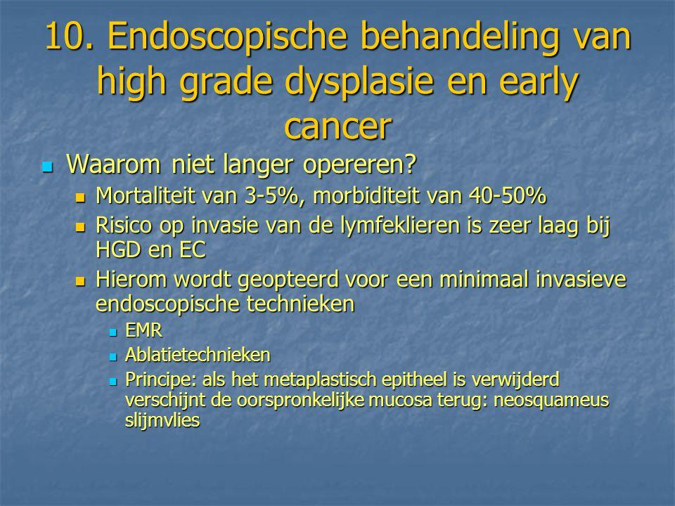 10. Endoscopische behandeling van high grade dysplasie en early cancer Waarom niet langer opereren? Waarom niet langer opereren? Mortaliteit van 3-5%,