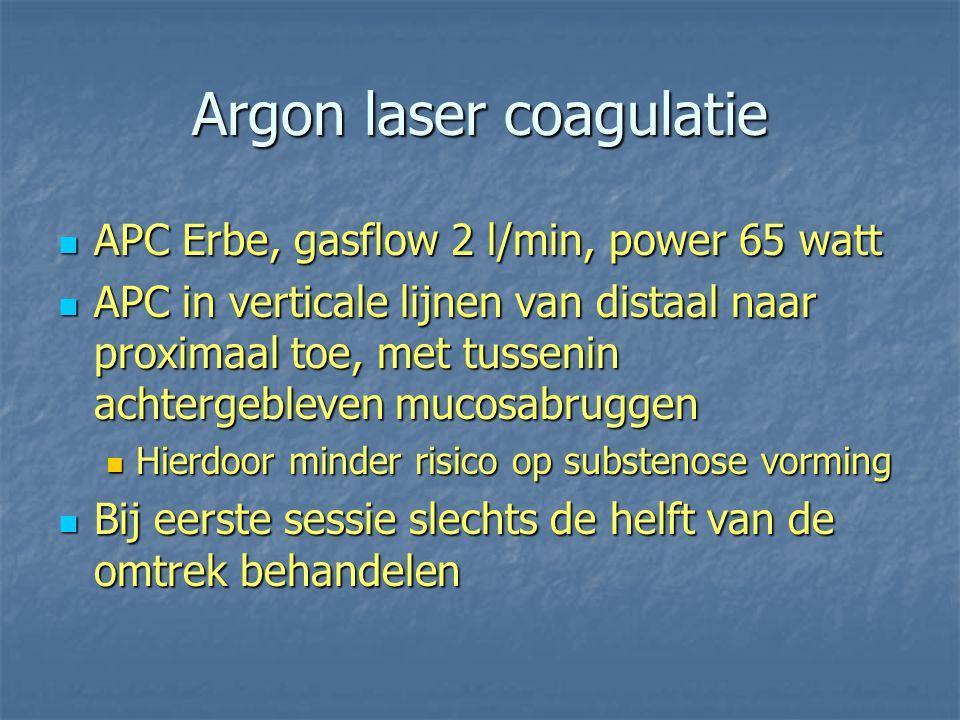 Argon laser coagulatie APC Erbe, gasflow 2 l/min, power 65 watt APC Erbe, gasflow 2 l/min, power 65 watt APC in verticale lijnen van distaal naar prox
