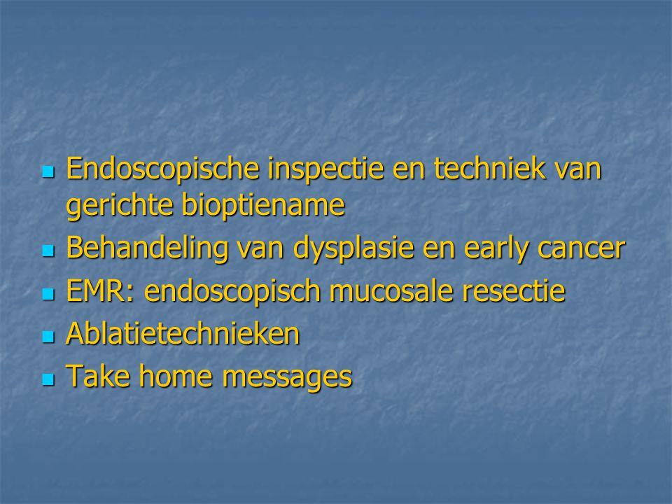 Op Conventioneel licht chromo-endoscopie Chromoendoscopie Chromoendoscopie Techniek met bv Indigo-carmijn Techniek met bv Indigo-carmijn Minder geschikt Minder geschikt Vrij omslachtig Vrij omslachtig Inhomogene distributie over slijmvlies Inhomogene distributie over slijmvlies Nieuwe variante: gebruik van azijnzuur Nieuwe variante: gebruik van azijnzuur 10-15 ml aan 1.5% 10-15 ml aan 1.5% Azijnzuur veroorzaakt tijdelijke verandering in de mucosale stuktuur wat met hoge resolutie endoscoop kan gezien worden Azijnzuur veroorzaakt tijdelijke verandering in de mucosale stuktuur wat met hoge resolutie endoscoop kan gezien worden Nog te experimenteel Nog te experimenteel