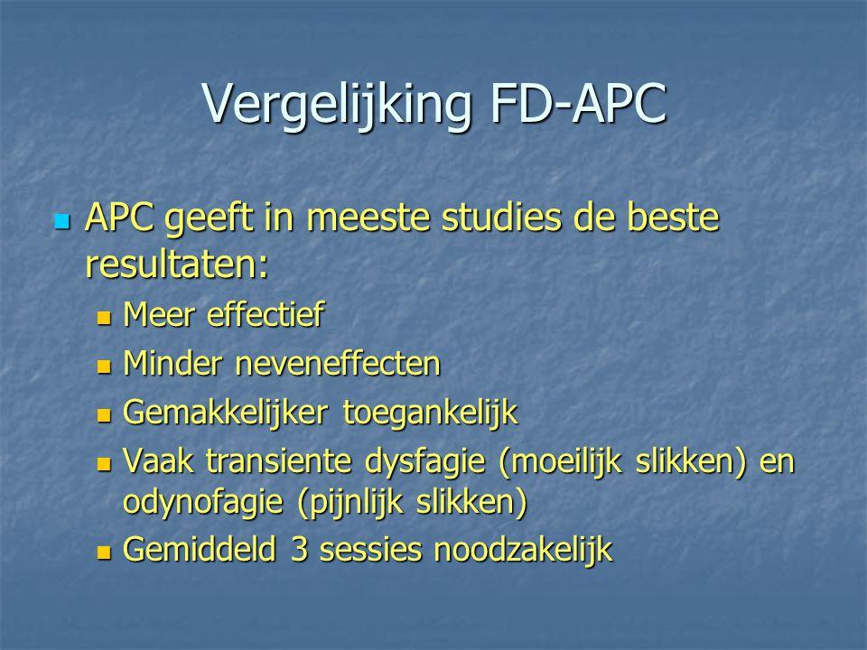 Vergelijking FD-APC APC geeft in meeste studies de beste resultaten: APC geeft in meeste studies de beste resultaten: Meer effectief Meer effectief Mi