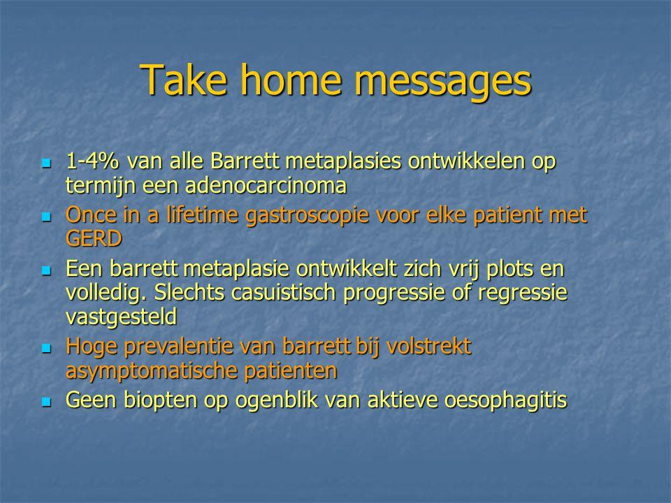 Take home messages 1-4% van alle Barrett metaplasies ontwikkelen op termijn een adenocarcinoma 1-4% van alle Barrett metaplasies ontwikkelen op termij