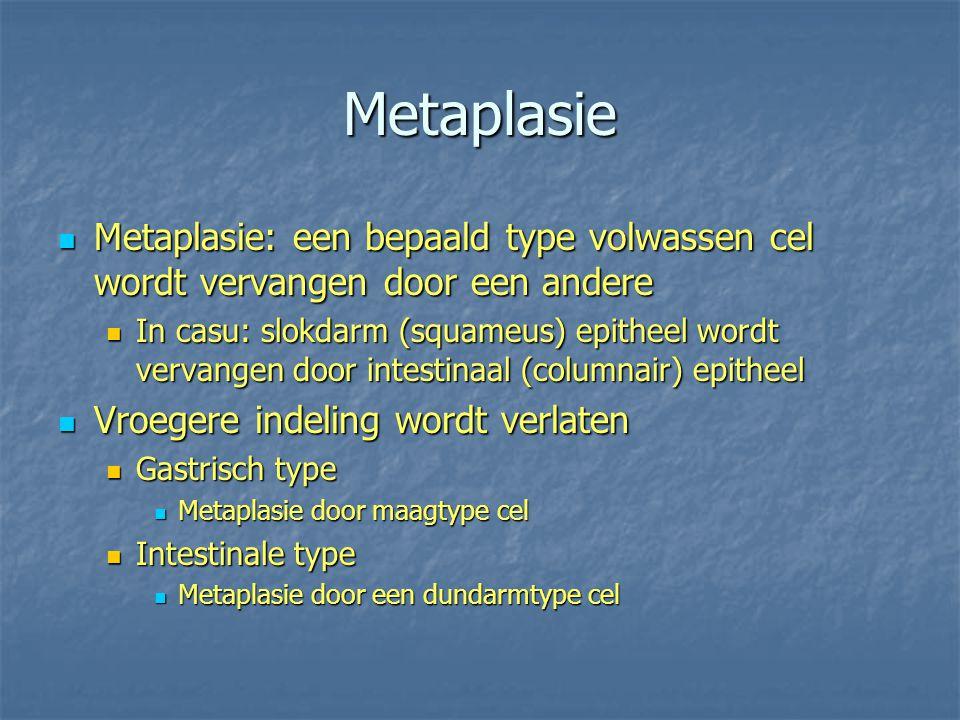 Metaplasie Metaplasie: een bepaald type volwassen cel wordt vervangen door een andere Metaplasie: een bepaald type volwassen cel wordt vervangen door