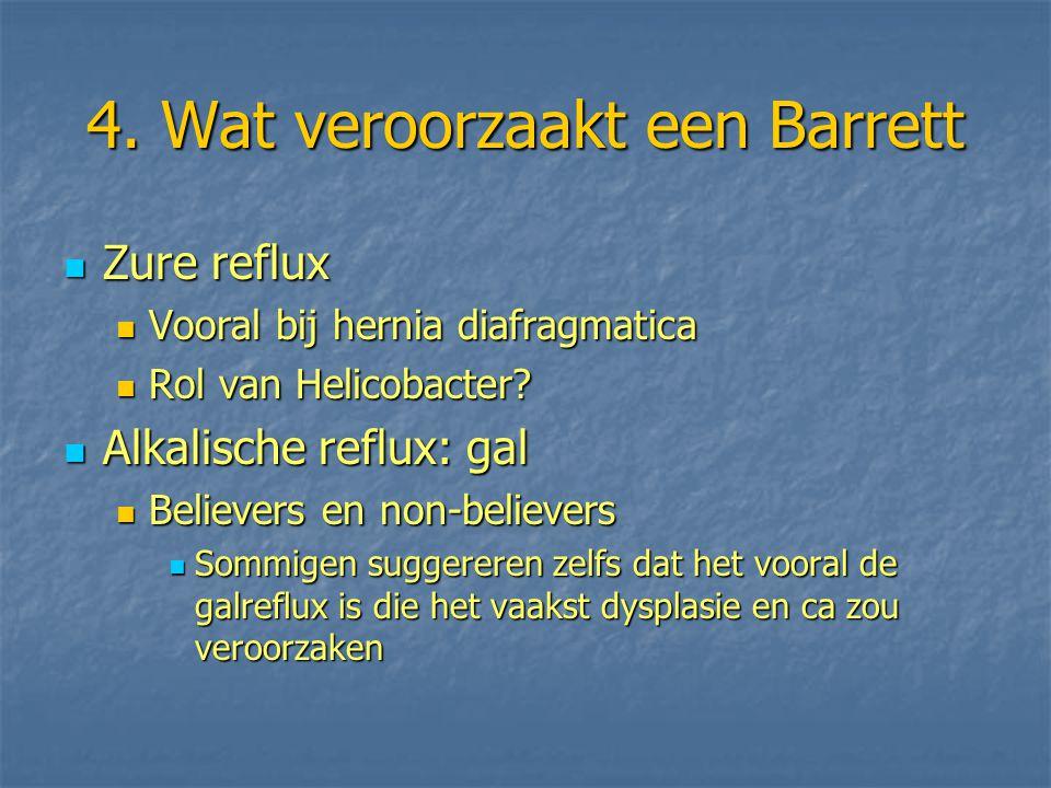 4. Wat veroorzaakt een Barrett Zure reflux Zure reflux Vooral bij hernia diafragmatica Vooral bij hernia diafragmatica Rol van Helicobacter? Rol van H