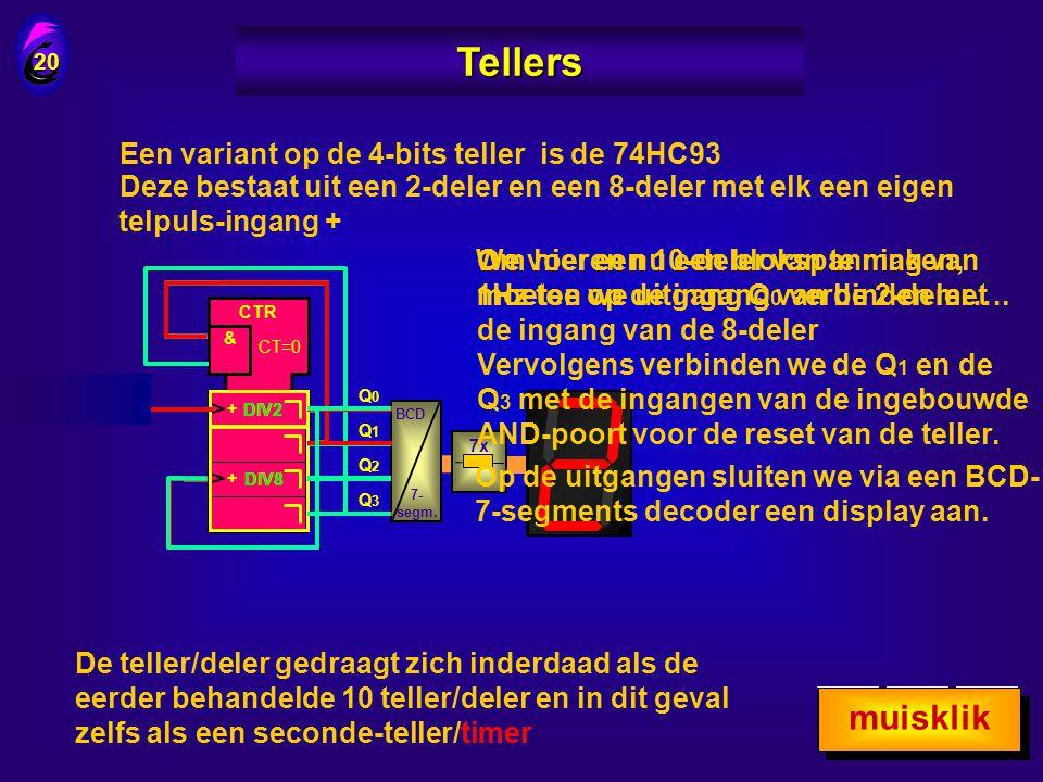19 Tellers C R Q0Q0 Q1Q1 Q2Q2 Q3Q3 ÷10 C R Q0Q0 Q1Q1 Q2Q2 Q3Q3 Res +5V C BCD 7- segm. BCD 7- segm. PulsPuls Ga vanaf 90 door met een serie pulsen …..