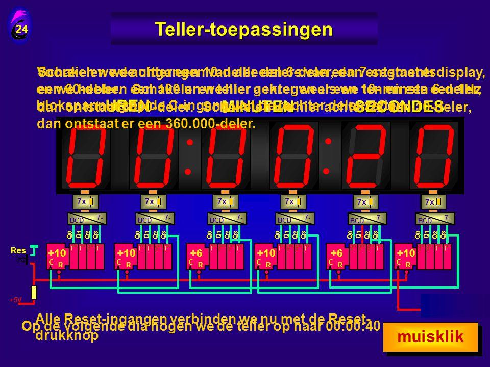 Drukken we nu op S … 23 Teller-toepassingen Q0Q0 Q1Q1 Q2Q2 Q3Q3 CTR & CT=0 + + DIV2 DIV8 +5V & Klokpuls 1 kHz S 7x & Dan gaat de teller zeer snel lope