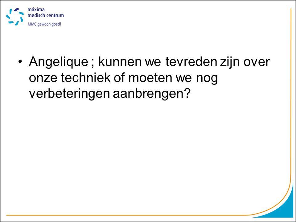 Angelique ; kunnen we tevreden zijn over onze techniek of moeten we nog verbeteringen aanbrengen?