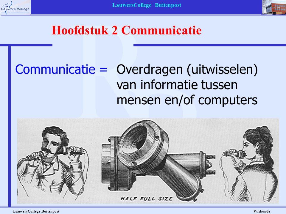 LauwersCollege Buitenpost LauwersCollege Buitenpost Wiskunde Hoofdstuk 2 Communicatie Communicatie =Overdragen (uitwisselen) van informatie tussen men
