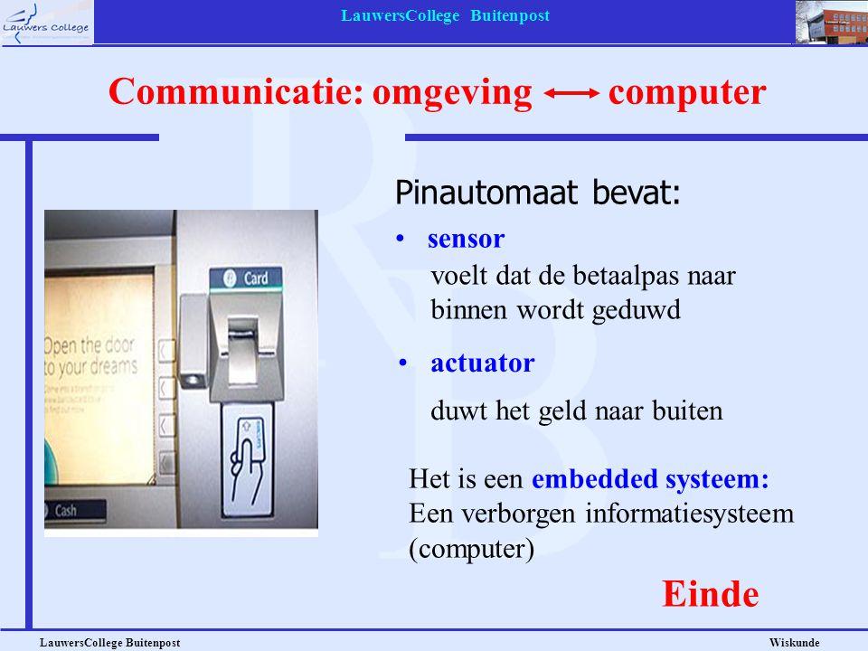 LauwersCollege Buitenpost LauwersCollege Buitenpost Wiskunde sensor Pinautomaat bevat: Het is een embedded systeem: Een verborgen informatiesysteem (c