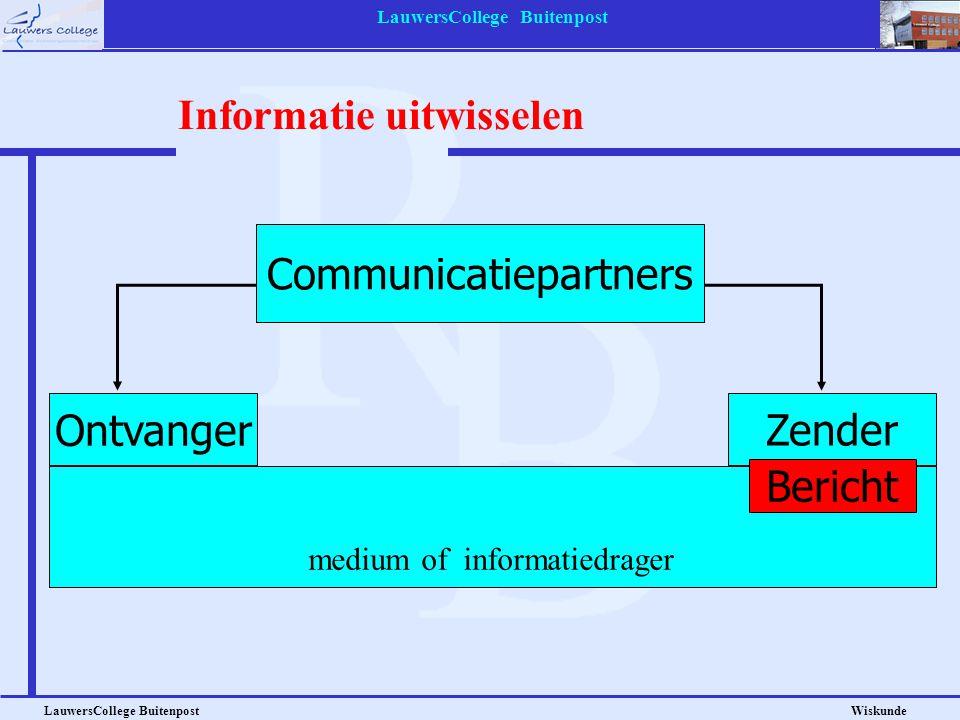 LauwersCollege Buitenpost LauwersCollege Buitenpost Wiskunde Informatie uitwisselen Ontvanger Zender Communicatiepartners medium of informatiedrager B