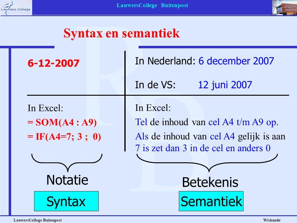 LauwersCollege Buitenpost LauwersCollege Buitenpost Wiskunde Syntax en semantiek In Nederland: 6 december 2007 In de VS: 12 juni 2007 Notatie Betekeni