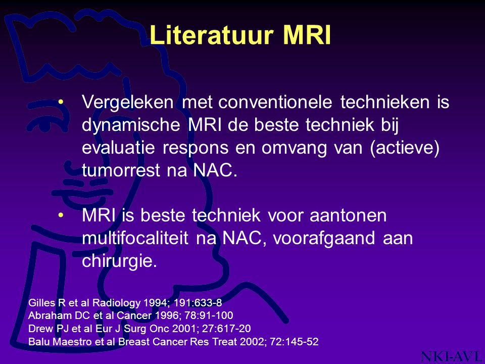 Vergeleken met conventionele technieken is dynamische MRI de beste techniek bij evaluatie respons en omvang van (actieve) tumorrest na NAC. MRI is bes